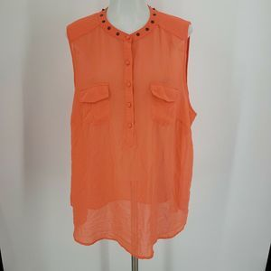 Torrid Orange Studded Button Front Semi Sheer Top